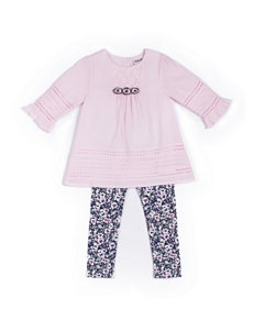 Little Lass Pink Top & Floral Leggings Set - Toddlers & Girls 4-6x
