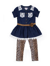 Little Lass Chambray Top & Animal Print Leggings Set - Toddlers & Girls 4-6x