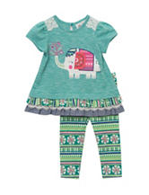 Rare Editions Elephant Top & Aztec Print Legging Set - Baby 6-24 Mos.