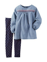 Carters® 2-pc. Chambray Top & Leggings Set - Baby 12-24 Mos.