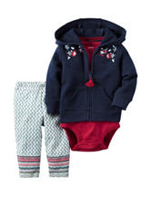 Carter's® 3-pc. Floral Embroidery Hoodie & Leggings Set - Baby 0-24 Mos.