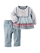 Carter's® 2-pc. Mixed Print Tunic & Light Wash Jeans Set – Baby 0-24 Mos.