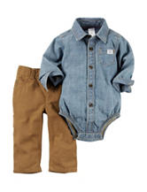 Carters® 2-pc. Chambray Bodysuit & Pants Set - Baby 0-24 Mos.