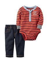 Carters® 2-pc. Striped Print Bodysuit & Jeans Set - Baby 0-18 Mos.