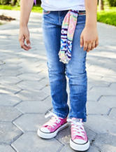 Squeeze Aztec Heart Print Skinny Jeans with Sash Belt - Toddlers & Girls 4-6x