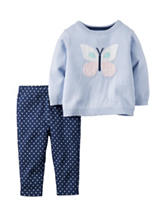 Carter's® 2-pc. Butterfly Sweater & Dot Print Leggings Set - Baby 3-18 Mos.
