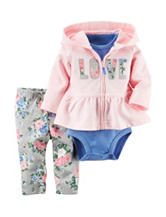 Carter's® 3-pc. Love Jacket & Floral Print Leggings - Baby 0-18 Mos.