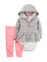 Carters® 3-pc. Heart Print Jacket & Leggings Set - Baby 0-18 Mos.