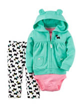 Carter's® 3-pc. Mint Jacket & Printed Leggings Set - Baby 0-18 Mos.