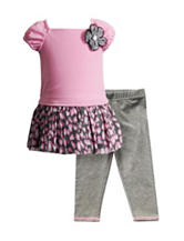 Youngland Pink Top & Leggings Set - Girls 2-6x