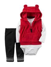 Carters® 3-pc. Red Vest & Leggings Set - Baby 0-18 Mos.