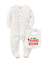 Carter's® 2-pc. My First Thanksgiving Bodysuit & Bib Set - Baby 0-9 Mos.