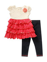 Youngland Crochet Tiered Top & Jegging Set - Toddlers & Girls 4-6x