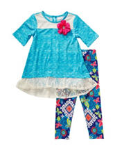 Youngland Knit Top & Floral Print Legging Set - Toddlers & Girls 4-6x