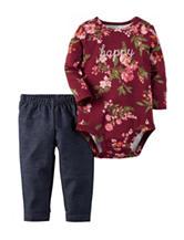 Carter's® 2-pc. Happy Floral Print Bodysuit & Leggings Set - Baby 0-18 Mos.