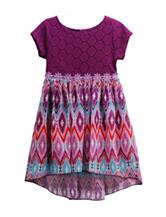 Youngland Multicolor Aztec Print Dress - Toddlers & Girls 4-6x