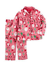 Carters® 2-pc. Santa Print Pajama Top & Pants Set - Toddler Girls