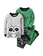 Carter's® 4-pc. Raccoon Print Pajama Set - Baby 12-24 Mos.