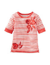 OshKosh B'gosh® Coral & White Striped Print Top - Toddler Girls