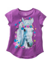 Twirl Purple Floral Horse Hi-Lo Top – Girls 4-6x