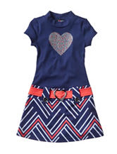 Lilt Heart Print Chevron Dress – Toddlers & Girls 4-6x
