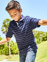 Nautica Navy Striped Polo Shirt – Boys 8-20