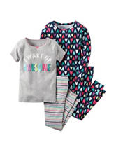 Carter's® 4-pc. Wake Up Awesome Pajama Set – Girls 4-8