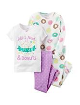 Carter's® 4-pc. Love & Donuts Pajama Set - Girls 4-8