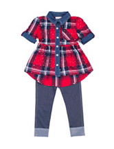 Little Lass Plaid Jeggings Set - Girls 4-6x