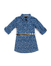 Little Lass Floral Print Chambray Dress - Toddlers & Girls 4-6x