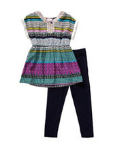 Youngland 2-pc. Fringe Aztec Top & Pants Set