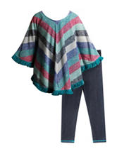 Youngland 2-pc. Striped Poncho Top & Leggings Set – Girls 4-6x