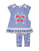 Rare Editions Butterfly Print Top & Legging Set - Toddler & Girls 4-6x