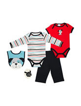 Baby Gear 5-pc. Dog & Striped Print Pants Set - Baby 0-9 Mos.