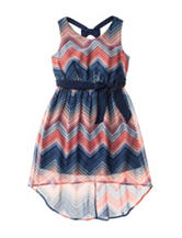 Pinky Chevron Print Hi-Lo Dress - Girls 7-16