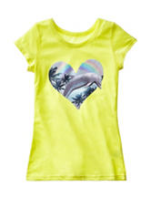 Twirl Dolphin Heart Screen Print Top – Girls 7-16