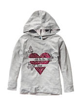 Love, Peace & Lip Gloss Sequin Heart Print Hoodie Top - Girls 4-6x