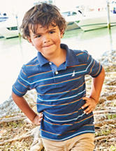 Nautica Striped Print Polo Shirt - Toddler & Boys 4-7