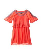 My Michelle Aztec Orange Popover Dress – Girls 7-16