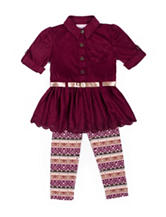 Little Lass 2-pc. Burgundy Top & Leggings Set - Girls 4-6x