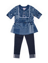 Little Lass Chambray Patch Top & Jeggings Set - Toddlers & Girls 4-6x