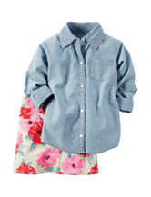 Carters® 2-pc. Chambray Top & Floral Print Skirt - Girls 4-8