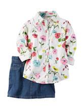 Carters® 2-pc. Floral Print Top & Denim Skirt - Girls 4-8