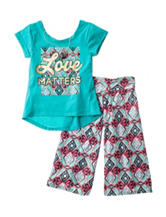 One Step Up 2-pc. Love Matters Aztec Print Gaucho Pants Set – Girls 7-12