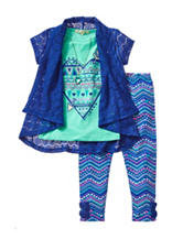 Self Esteem Crochet Top & Aztec Print Leggings Set - Girls 4-6x