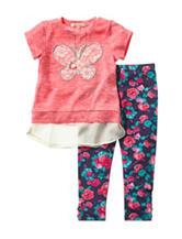 Self Esteem 2-pc. Butterfly Print Top & Floral Leggings Set - Girls 4-6x