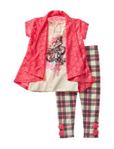 Self Esteem Crochet Top & Plaid Print Leggings Set - Girls 4-6x