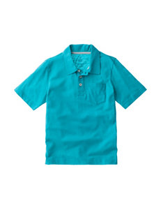 Rustic Blue Aquamarine Slub Polo Shirt - Boys 8-20