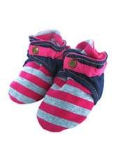 Trimfit Pink & Grey Striped Booties - Baby 0-12 Mos.