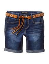 Vanilla Star Tassel Belted Bermuda Denim Shorts – Girls 7-14